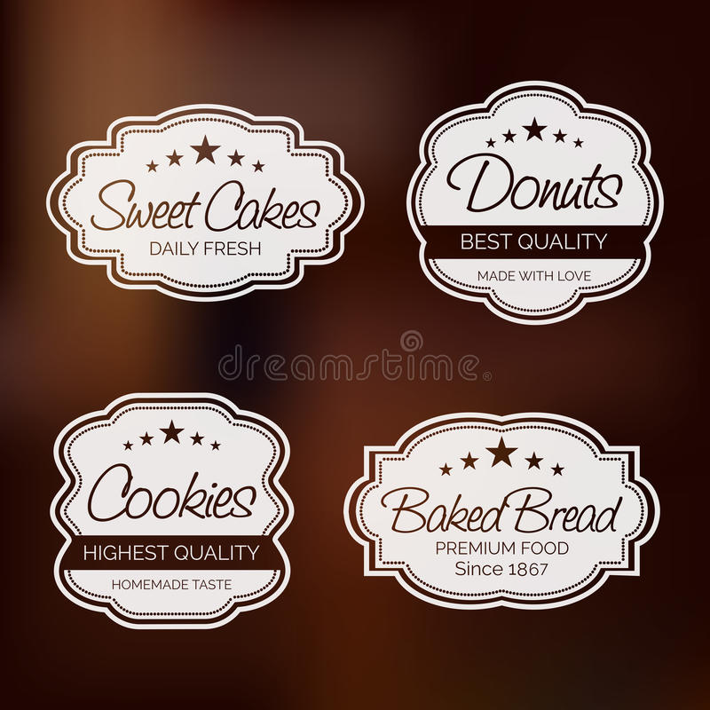 Download badge label and sticker for food shop stock illustration illustration of cake