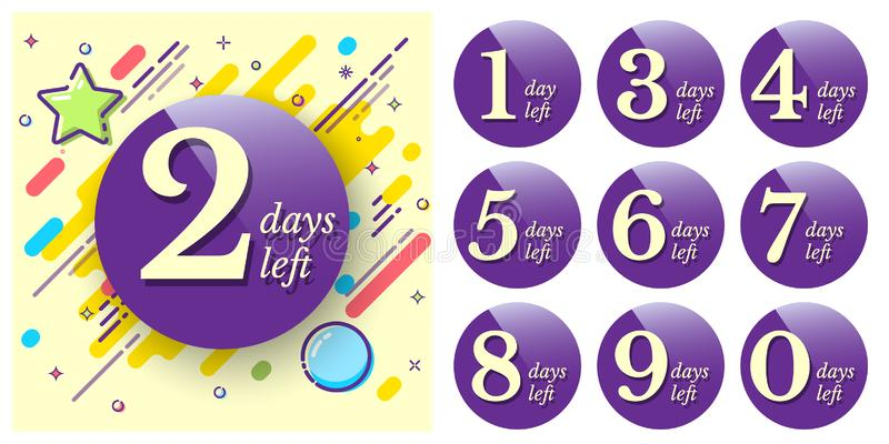 Badge with number of days left for sale or promotion banners or stickers. Vector design template. royalty free illustration