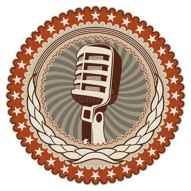 Badge with old microphone. Illustrated vintage badge with old microphone vector illustration