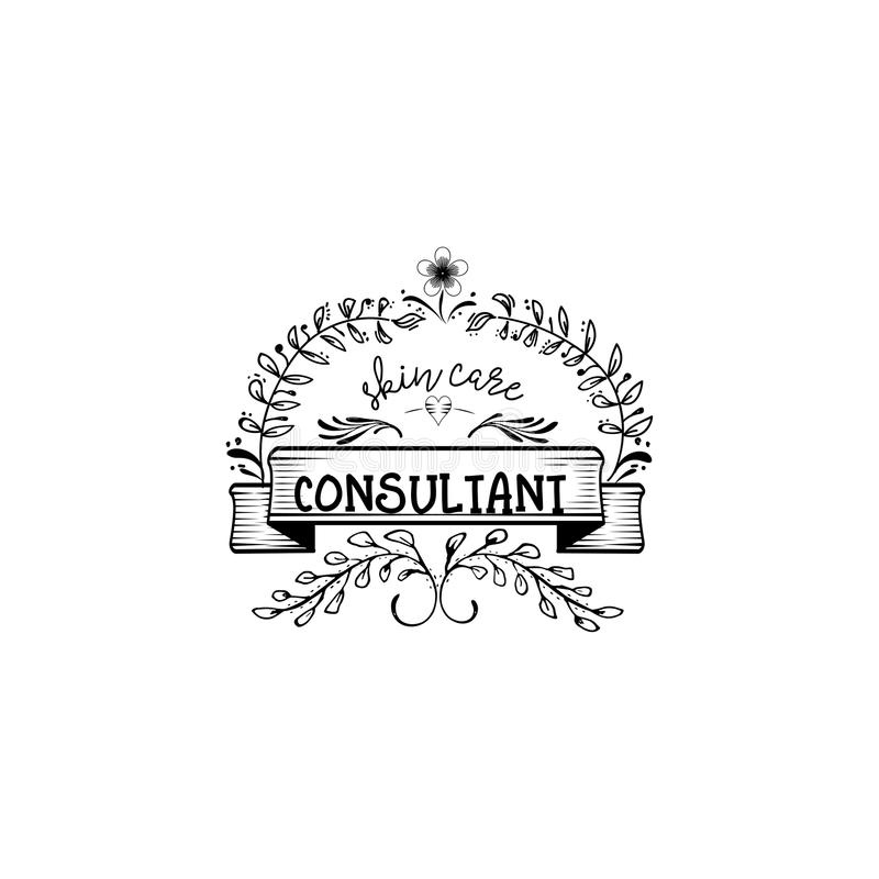 Badge para las pequeñas empresas - consultor del cuidado de piel del salón de belleza Etiqueta engomada, sello, logotipo - para e ilustración del vector