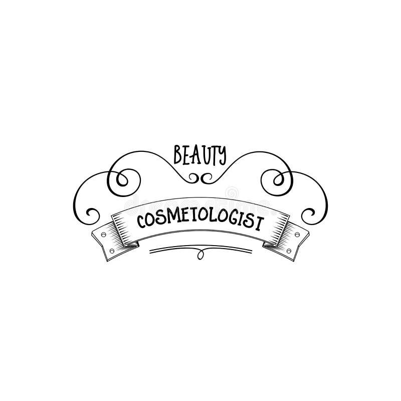 Badge para las pequeñas empresas - Cosmetologist Sticker, sello, logotipo del salón de belleza - para el diseño, manos hechas Con ilustración del vector