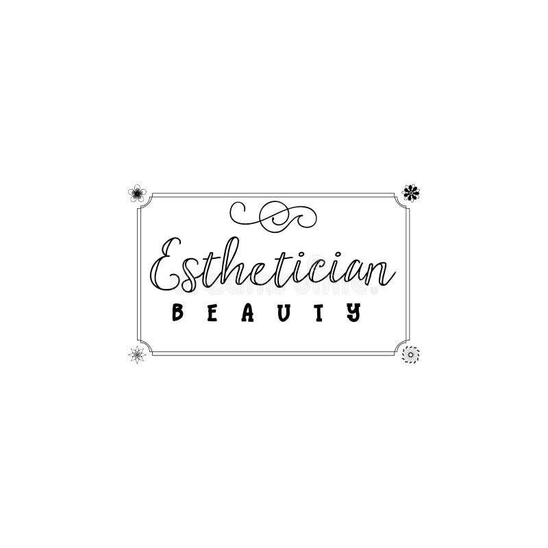Badge para las pequeñas empresas - Esthetician del salón de belleza Etiqueta engomada, sello, logotipo - para el diseño, manos he libre illustration
