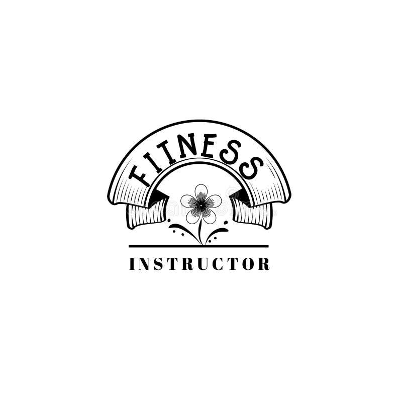 Badge para las pequeñas empresas - instructor de la aptitud del salón de belleza Etiqueta engomada, sello, logotipo - para el dis libre illustration