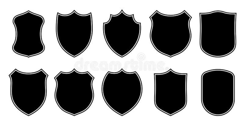 Badge patch shield shape vector heraldic icons. Football or soccer club military police clothing badge patch blank black stock illustration