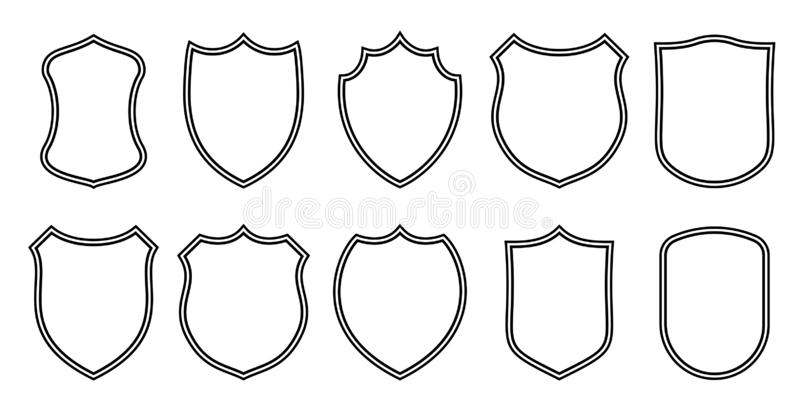 Badge patches vector outline templates. Sport club, military or heraldic shield and coat of arms blank icons vector illustration