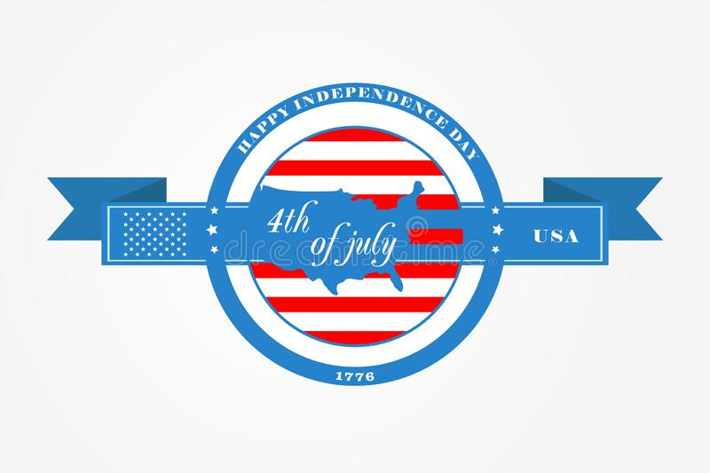 Badge and ribbon for Fourth of July, Independence Day of the United States of America. US flag in the circle and USA map royalty free illustration
