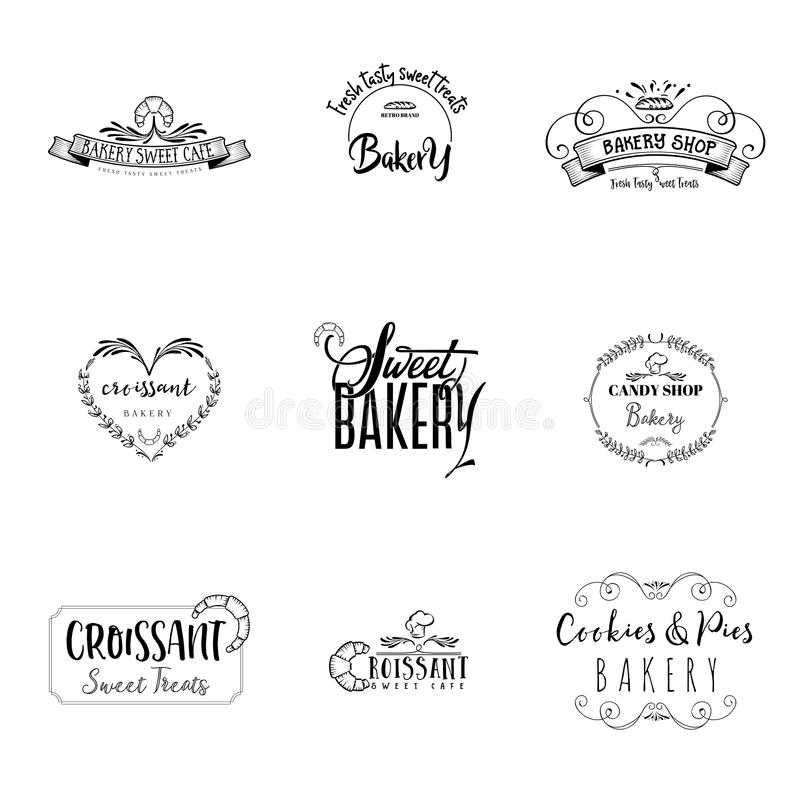 Badge set for small businesses - sweet bakery. The pattern printing plate handmade works written by hand font. It can be. Handmade Logo set for small businesses stock illustration