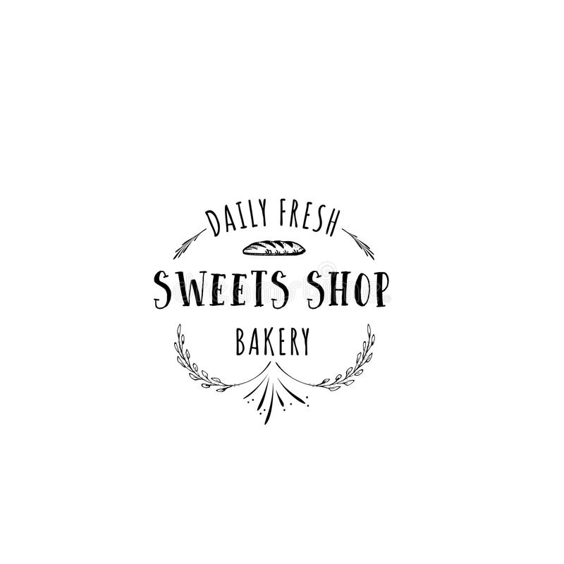 Badge set for small businesses - sweet bakery. The pattern printing plate handmade works written by hand font. It can be. Handmade Logo set for small businesses vector illustration