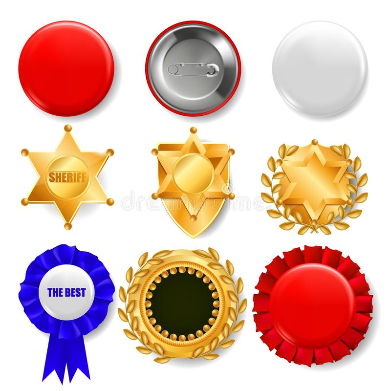 Badge Set Vector. Plastic And Golden Empty Button. Sale Symbol. Best Quality Product Emblem. Hexagonal. Sheriff, Pin royalty free illustration