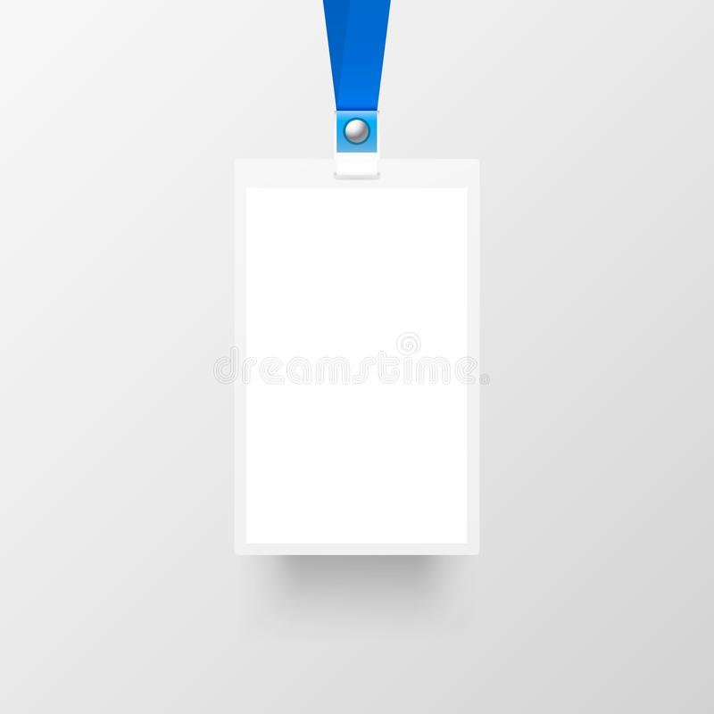 Business Card Mockup With Cord: Badge Sing Empty On The Gray Background. Stock Vector