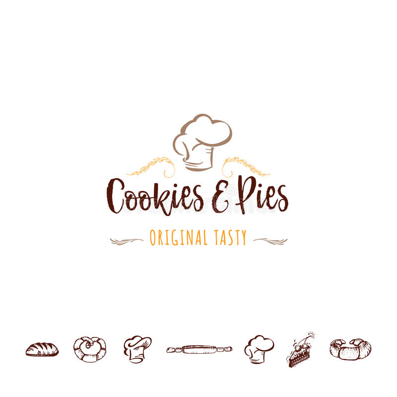 Badge for small businesses - cookies and pies. The pattern printing plate handmade. Handmade Logo for small businesses - cookies and pies stock illustration