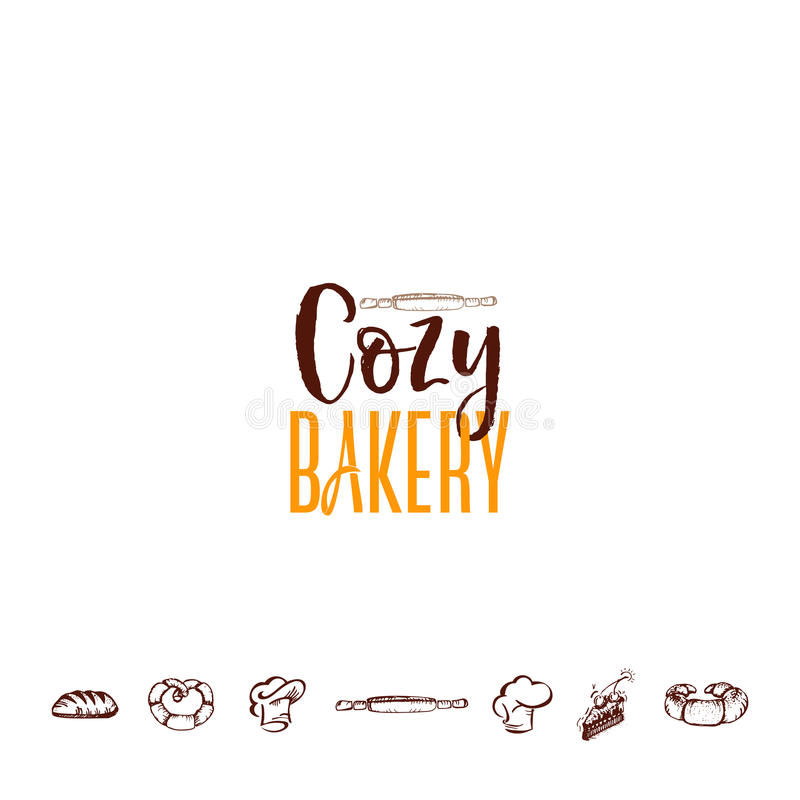 Badge for small businesses - cozy bakery. The pattern printing plate handmade works. Handmade Logo for small businesses - cozy bakery vector illustration