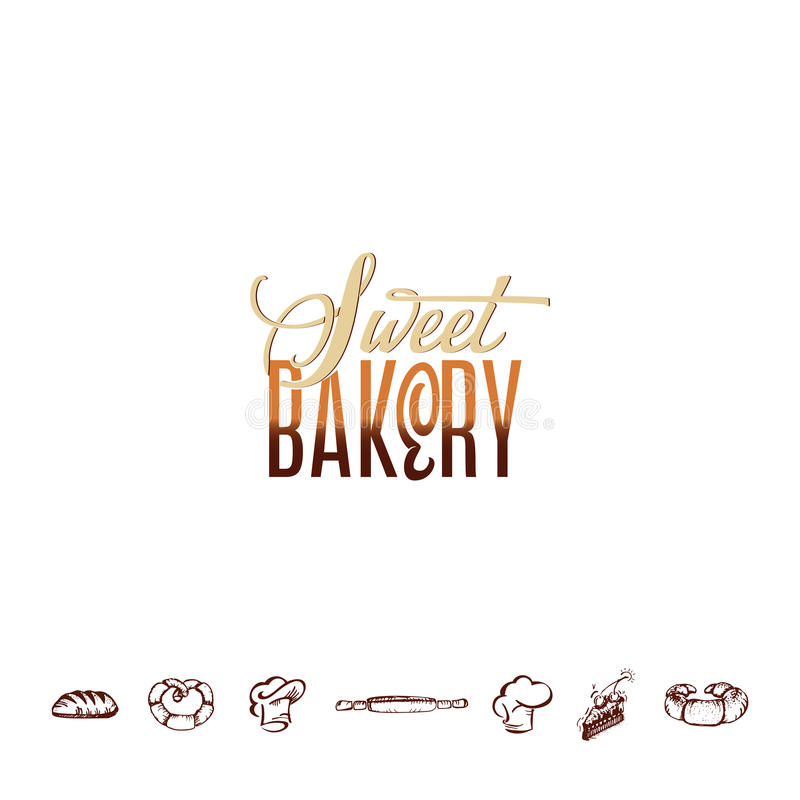 Badge for small businesses - sweet bakery. The pattern printing plate handmade works. Handmade Logo for small businesses - sweet bakery vector illustration