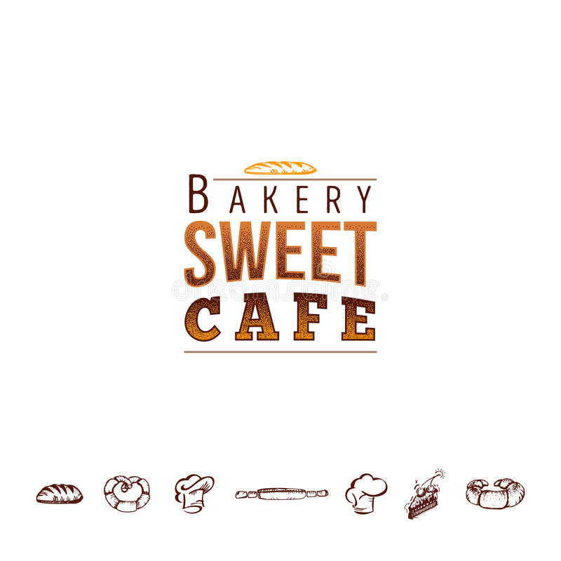 Badge for small businesses - sweet bakery. The pattern printing plate handmade works. Handmade Logo for small businesses - sweet bakery royalty free illustration