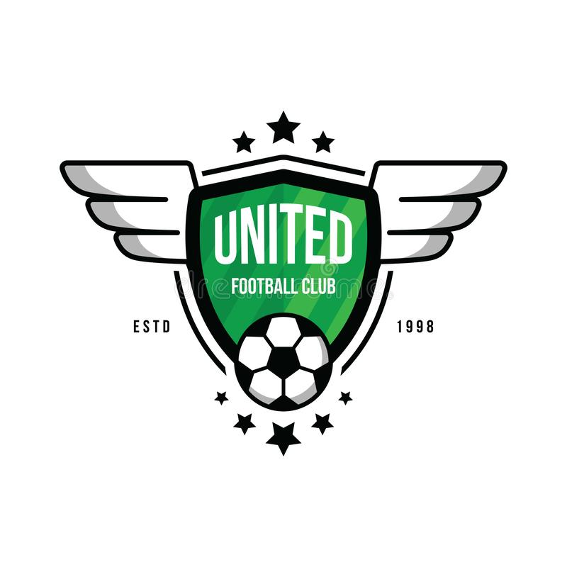 Badge for the soccer team with a ball and wings on a green background. Logo for football team. Ball, stars, wings. Shield, green lawn. Vector art royalty free illustration
