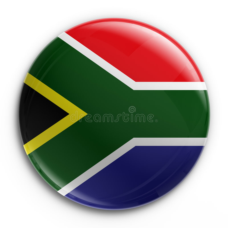Badge - South African flag. 3d rendering of a badge with the South African flag vector illustration