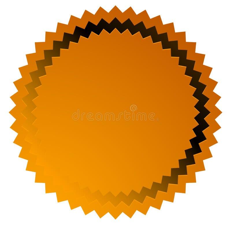 Badge, starburst, sunburst button background. Blank badge, button shape stock illustration