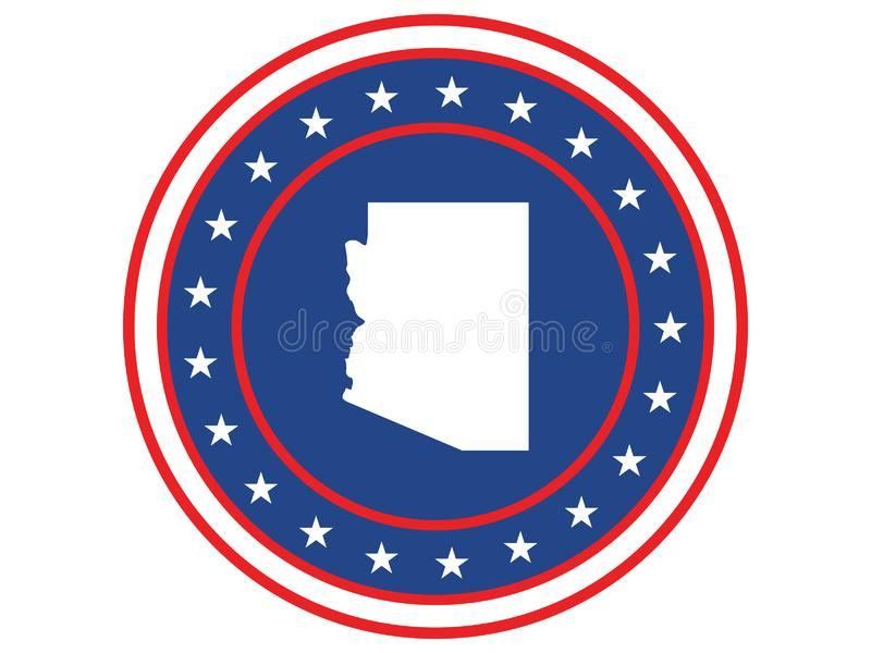 Badge of the state of Arizona in colors of USA flag royalty free stock image