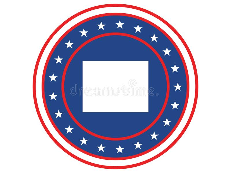 Badge of the state of Colorado in colors of USA flag royalty free stock photos