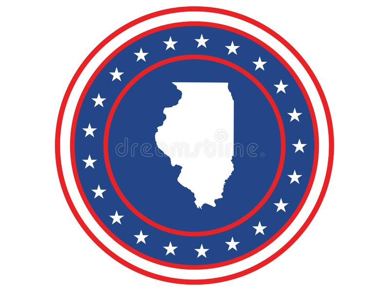 Badge of the state of Illinois in colors of USA flag royalty free stock image