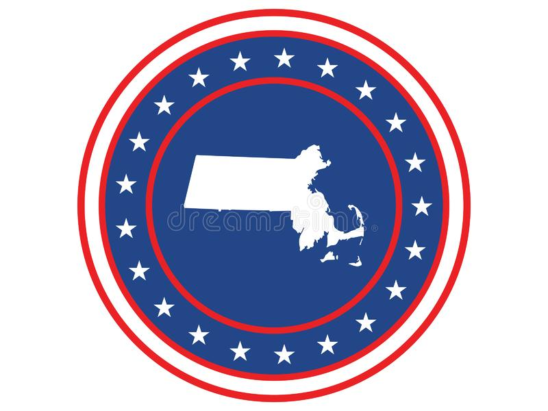 Badge of the state of Massachusetts in colors of USA flag royalty free stock photo