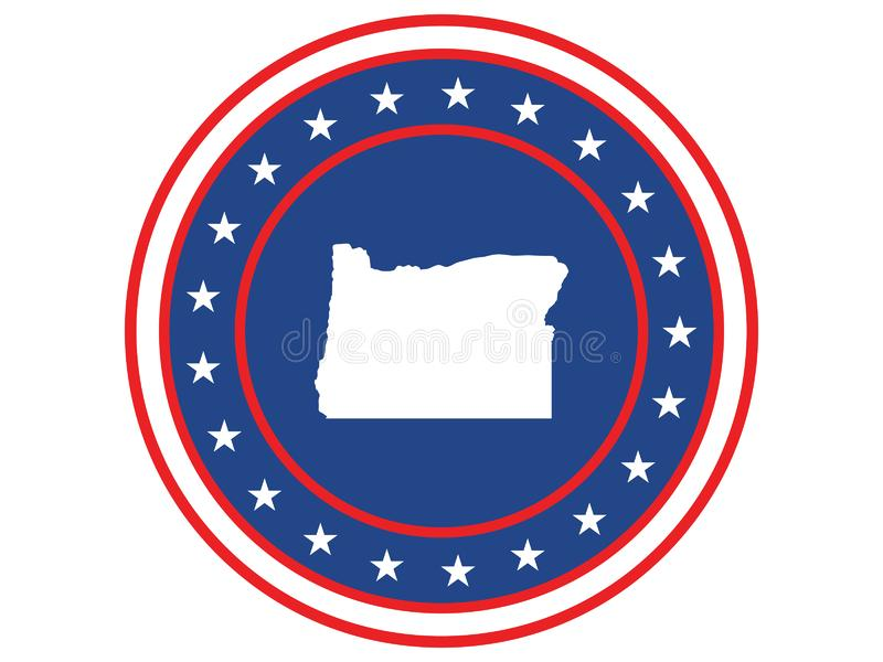 Badge of the state of Oregon in colors of USA flag royalty free stock photos