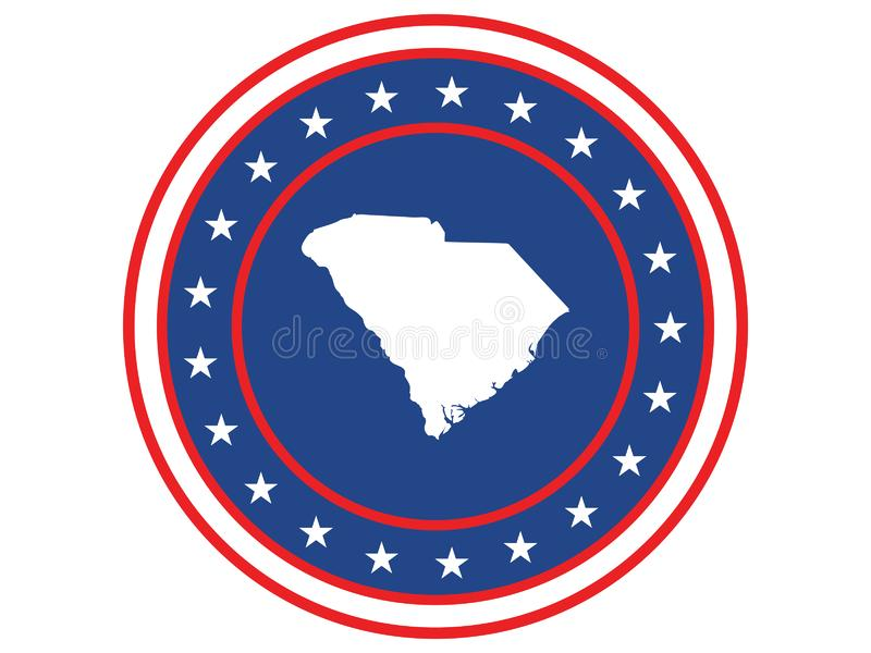 Badge of the state of South Carolina in colors of USA flag royalty free stock images