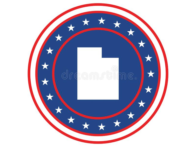 Badge of the state of Utah in colors of USA flag royalty free stock photography