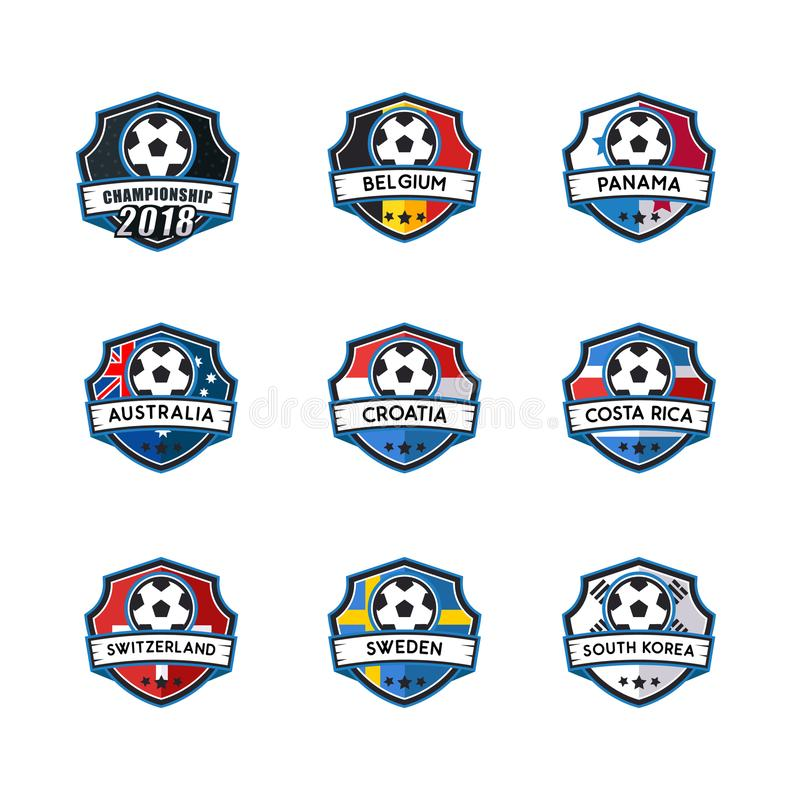 Soccer template badge vector for champion royalty free stock photos