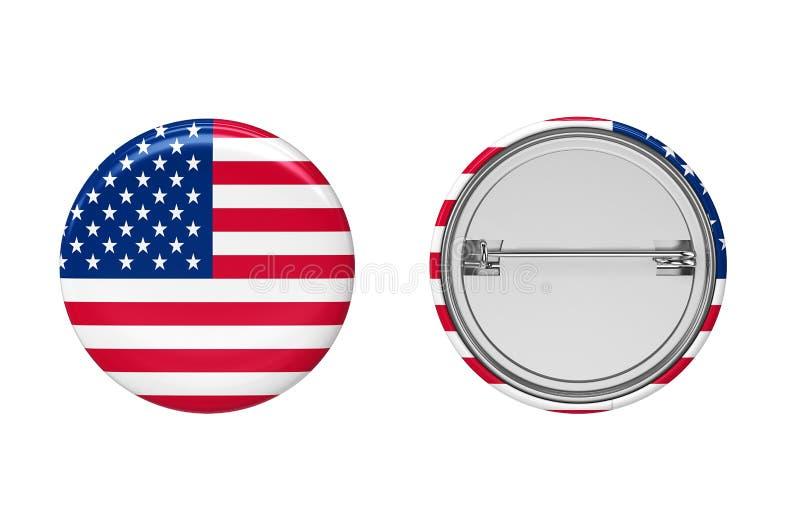 badged Взгляд кнопки штыря американского флага передний и задний иллюстрация 3d иллюстрация вектора