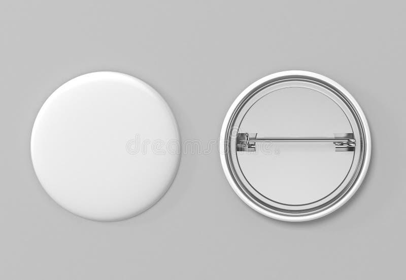 badged Взгляд пустой белой кнопки штыря передний и задний иллюстрация 3d иллюстрация штока