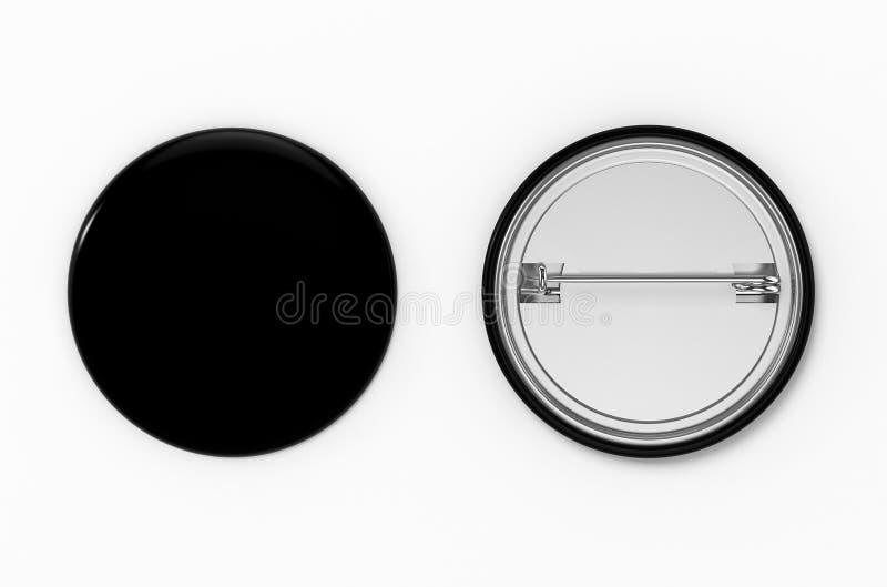 badged Взгляд пустой черной кнопки штыря передний и задний иллюстрация 3d иллюстрация вектора
