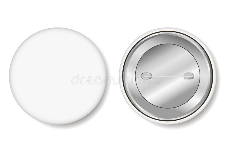 badged Пустая белая кнопка штыря - реалистический модель-макет вектор иллюстрация штока