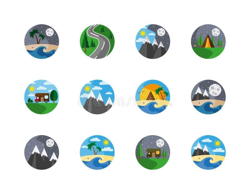 badged Символы природы и располагаться лагерем иллюстрация вектора