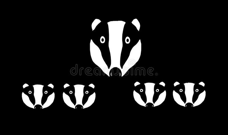 Badger mum and four cubs. Graphic illustration of Badger mum and her cubs looking out of from the darkness royalty free illustration