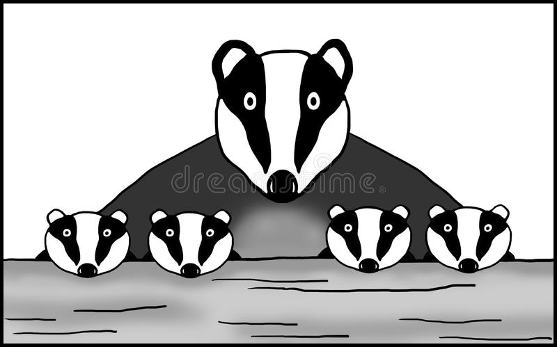 Badger mum and four cubs. Graphic illustration of Badger mum and her cubs looking over a log stock illustration