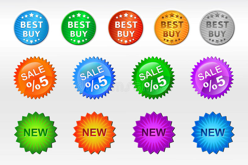 Badges. Vector illustration of badges and tags royalty free illustration