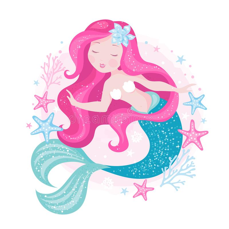 Badges. Beautiful mermaid for t shirts and fabrics or kids fashion artworks, children books. Fashion illustration drawing in. Modern style. Cute Mermaid. Girl stock illustration