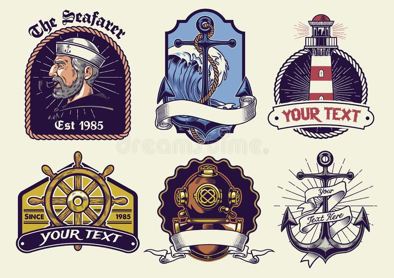 Badges design collection nautical in vintage look stock illustration