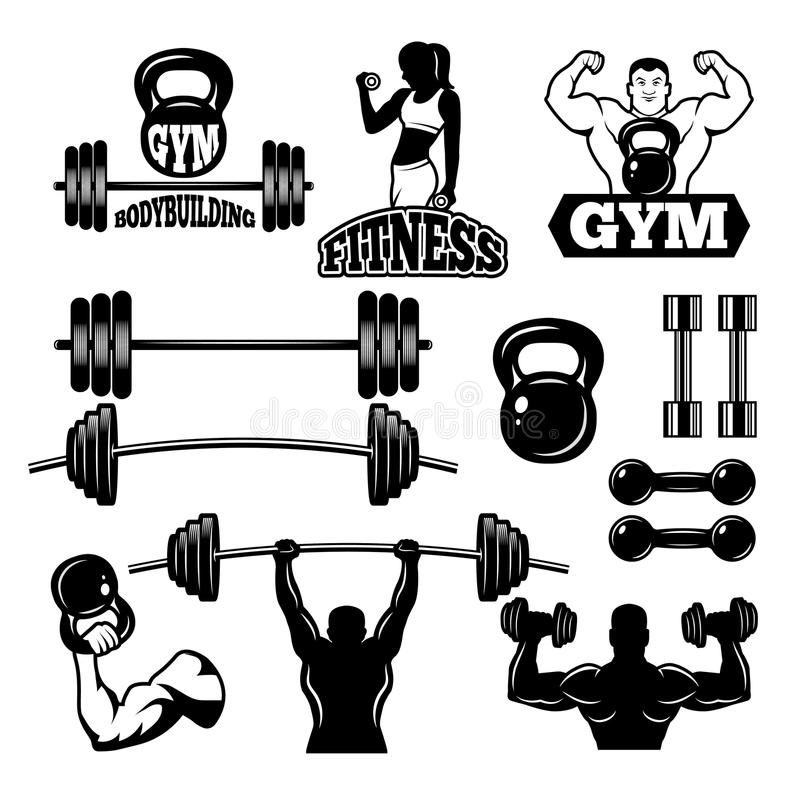 Badges and labels for gym and fitness club. Sport symbols in monochrome style vector illustration