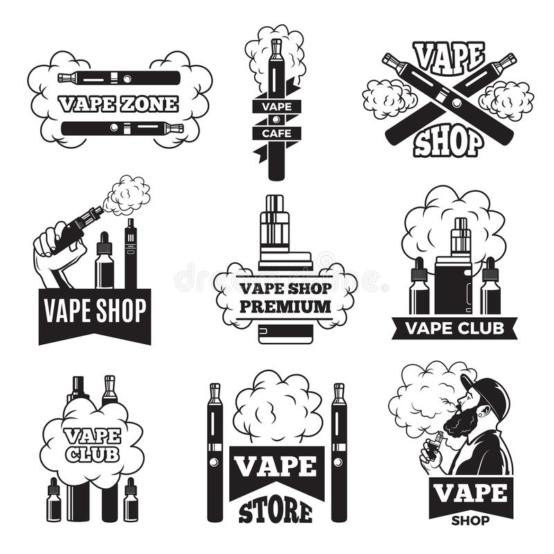 Badges and labels with illustrations of vapor from electric cigarette. Pictures for vaping club or shop stock illustration