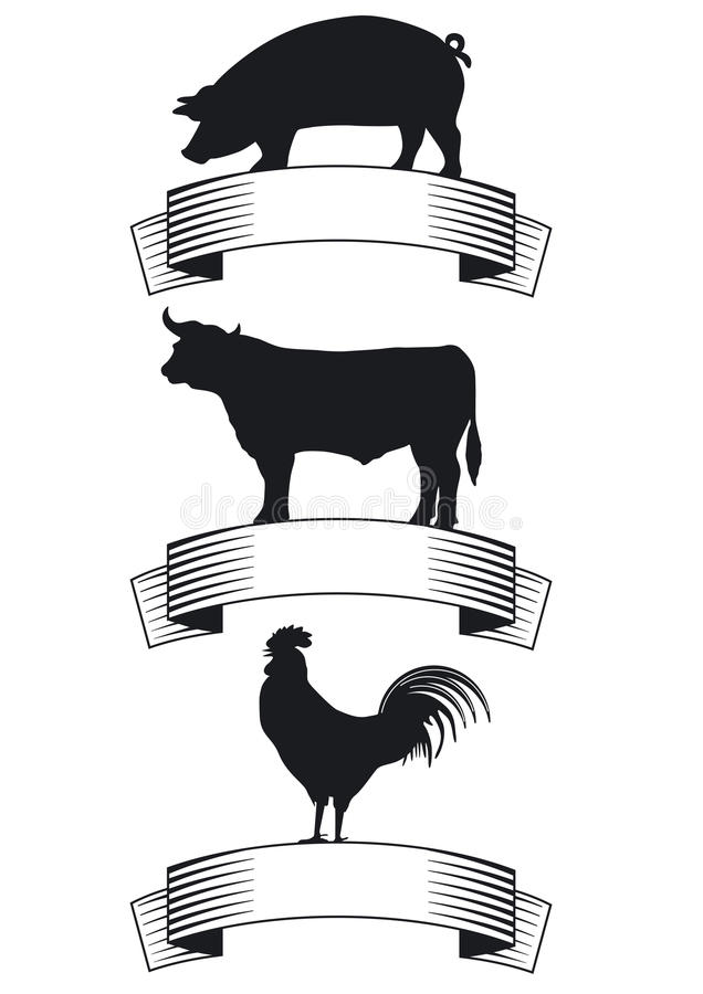 Badges for meat products stock illustration