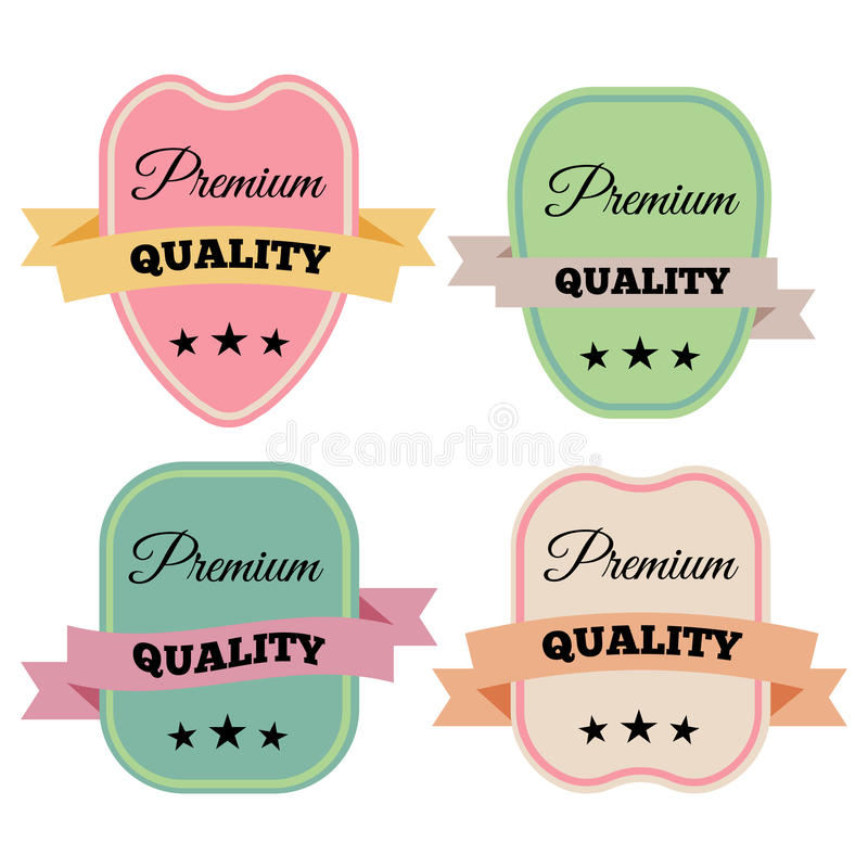 Badges-06. Set of Vector Badges with Ribbons and the Words Premium Quality. vector illustration stock illustration