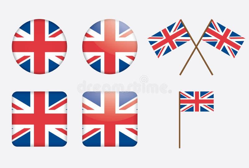 Badges with United Kingdom flag