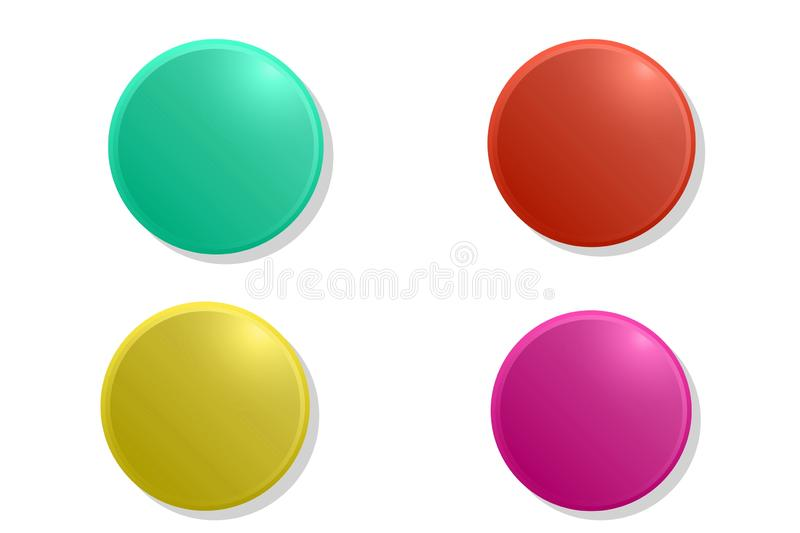 Badges or web buttons. Four different plastic pins emblems icon on white background. Graphic, design, set, circular, off, push, business, creating, idea royalty free illustration