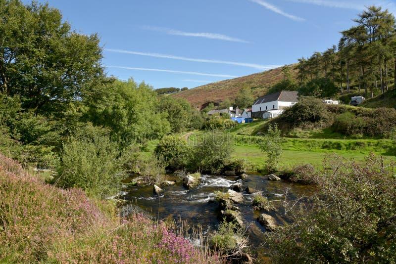 Badgworthy River in Doone Valley, Exmoor, North Devon. Badgworthy River near Malmsmead in the Doone Valley, Exmoor, North Devon stock photography