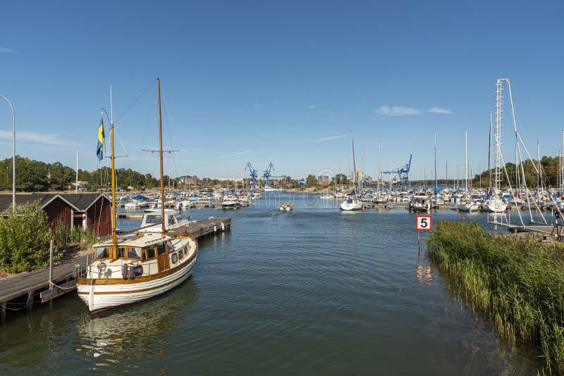 Badhusviken marina summertime Oxelosund Sweden royalty free stock photo