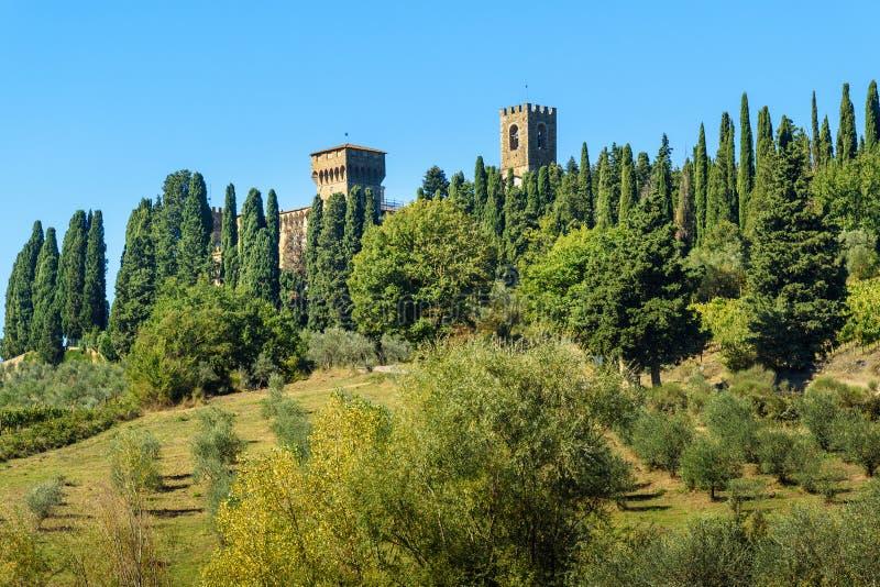 Badia Di Passignano, opactwo San Michele Arcangelo Passignano jest historycznym Benedyktyńskim opactwem lokalizować na szczycie,  obraz stock