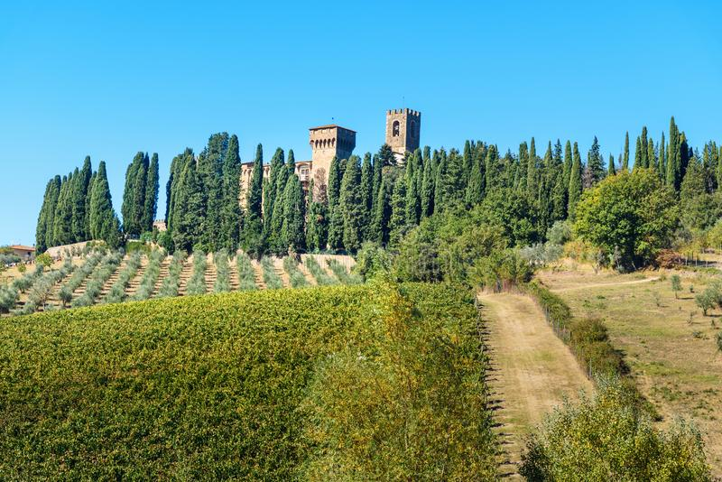 Badia Di Passignano, opactwo San Michele Arcangelo Passignano jest historycznym Benedyktyńskim opactwem lokalizować na szczycie,  obraz royalty free