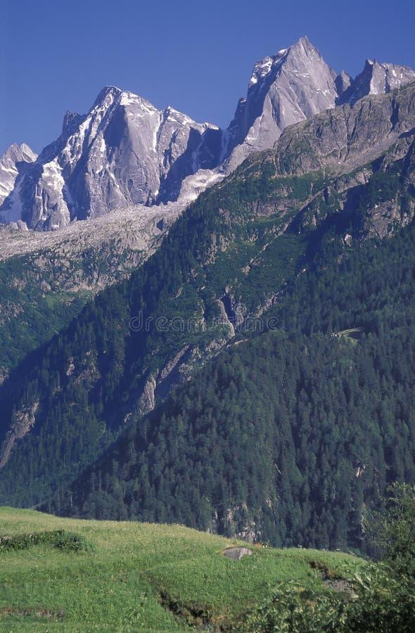 Badile i Cengalo wysokogórscy szczyty widzieć od Soglio, Switzerlan obrazy stock